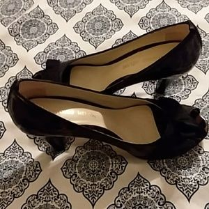 Patent Leopard Peep Toe Shoes